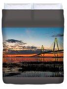 Arthur Ravenel Bridge Twilight Duvet Cover