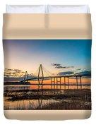 Arthur Ravenel Jr. Bridge At Dusk Duvet Cover