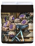 Artichoke Flowers With Bicycle Duvet Cover