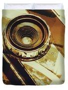 Artistic Double Exposure Of A Vintage Photo Tour Duvet Cover