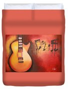 Artistic Guitar With Musical Notes Duvet Cover
