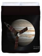 Artists Concept Of The Juno Spacecraft Duvet Cover by Stocktrek Images