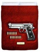Beretta 92fs Inox With Ammo On Red Velvet  Duvet Cover