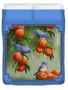 Bird Painting - Bluebirds And Peaches Duvet Cover by Crista Forest
