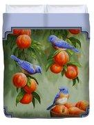 Bird Painting - Bluebirds And Peaches Duvet Cover