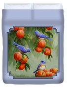 Bird Painting - Bluebirds And Peaches Duvet Cover
