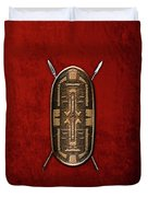 Zande War Shield With Spears On Red Velvet  Duvet Cover