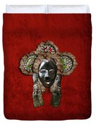 Dan Dean-gle Mask Of The Ivory Coast And Liberia On Red Velvet Duvet Cover by Serge Averbukh