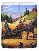 Raking Hay Field Rustic Country Farm Folk Art Landscape Duvet Cover