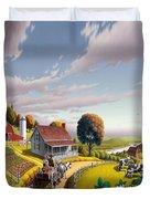 Appalachian Blackberry Patch Rustic Country Farm Folk Art Landscape - Rural Americana - Peaceful Duvet Cover