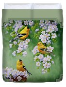 American Goldfinches And Apple Blossoms Duvet Cover