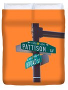 Broad And Pattison Where Philly Sports Happen Duvet Cover