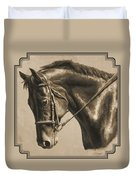 Horse Painting - Focus In Sepia Duvet Cover by Crista Forest