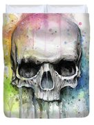 Skull Watercolor Painting Duvet Cover