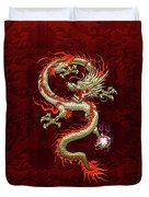 Golden Chinese Dragon Fucanglong On Red Silk Duvet Cover