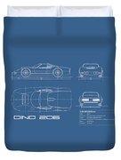 Blueprint Ferrari Dino 1965 Duvet Cover