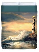 Cape Lookout Lighthouse North Carolina At Sunset  Duvet Cover