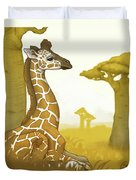 Giraffe And Savanna Duvet Cover