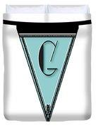 Pennant Deco Blues Banner Initial Letter G Duvet Cover