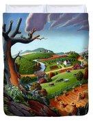 Appalachian Fall Thanksgiving Wheat Field Harvest Farm Landscape Painting - Rural Americana - Autumn Duvet Cover