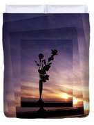 Red Roses At Sunset Duvet Cover