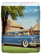 1951 Hudson Hornet Fair Americana Antique Car Auto Nostalgic Rural Country Scene Landscape Painting Duvet Cover