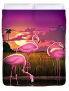 Flamingoes Flamingos Tropical Sunset Landscape Florida Everglades Large Hot Pink Purple Print Duvet Cover