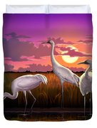 Whooping Cranes Tropical Florida Everglades Sunset Birds Landscape Scene Purple Pink Print Duvet Cover