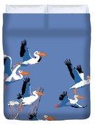 abstract Pelicans seascape tropical pop art nouveau 1980s florida birds large retro painting  Duvet Cover