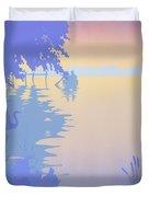 abstract tropical boat Dock Sunset large pop art nouveau retro 1980s florida landscape seascape Duvet Cover