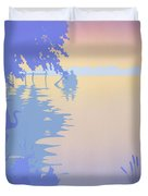 abstract tropical boat Dock Sunset large pop art nouveau retro 1980s florida landscape seascape Duvet Cover by Walt Curlee