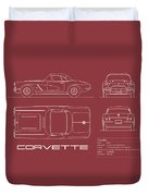 Corvette C1 Blueprint - Red Duvet Cover