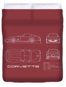 Corvette C3 Blueprint - Red Duvet Cover
