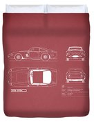 Ferrari 330 Blueprint - Red Duvet Cover