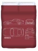Ferrari 550 Blueprint - Red Duvet Cover