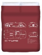 Jaguar C-type Blueprint - Red Duvet Cover