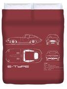 Jaguar E Type Blueprint - Red Duvet Cover