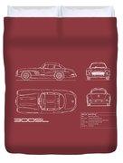Mercedes 300 Sl Blueprint - Red Duvet Cover
