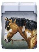Buckskin Native American War Horse Duvet Cover