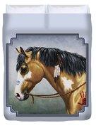 Buckskin Native American War Horse Duvet Cover by Crista Forest