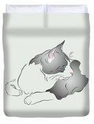 Grey And White Cat In Profile Graphic Duvet Cover