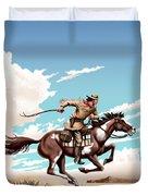 Pony Express Rider Historical Americana Painting Desert Scene Duvet Cover