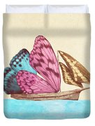 Butterfly Ship Duvet Cover