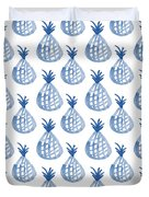 White And Blue Pineapple Party Duvet Cover by Linda Woods
