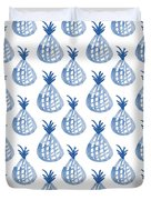 White And Blue Pineapple Party Duvet Cover