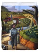Boy And Dog Farm Landscape - Flashback - Childhood Memories - Americana - Painting - Walt Curlee Duvet Cover