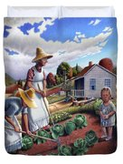Family Vegetable Garden Farm Landscape - Gardening - Childhood Memories - Flashback - Homestead Duvet Cover