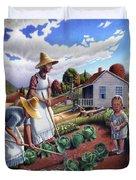 Family Vegetable Garden Farm Landscape - Gardening - Childhood Memories - Flashback - Homestead Duvet Cover by Walt Curlee