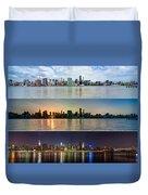Manhattanhenge View From Across East River Duvet Cover by Sasha Karasev