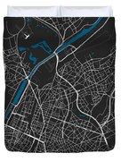 Brussels City Map Black Colour Duvet Cover